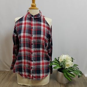 Asos XS plaid cutout top sz 2